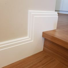 Art Deco skirting boards, white Skirting Boards, skirting Boards on step, timber floor, Perth Skirting Boards. Baseboards, House Design, Interior, Bathroom Baseboard, Timber Flooring, Skirting Boards, Architrave, Bathroom Ceiling Light, Interior Design