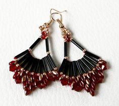 Earrings Beadwork Jewelry Colours: Black Siam Ruby Gold von Mulinka
