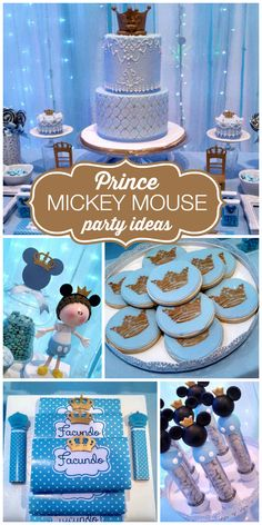 A blue Prince Mickey Mouse boy birthday party with a lighted backdrop and fun party favors!  See more party planning ideas at CatchMyParty.com!