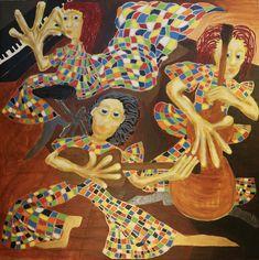On stage/Maarit Korhonen, acrylic, oilsticks, canvas, 100cm x 100cm Music Painting, Online Painting, Original Art For Sale, Original Music, Dark Paintings, Original Paintings, Dancer In The Dark, Modern Pop Art, Autumn Painting