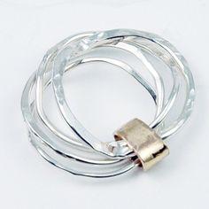 Stacking Rings Set Sterling Silver 14 karat Gold door thebeadgirl