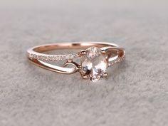 6x8mm Oval Morganite Engagement Ring Diamond Wedding Ring 14k Rose Gold Simple Split Shank