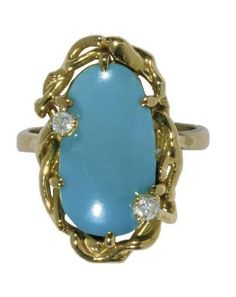 A GOLD COLOURED METAL TURQUOISE AND DIAMOND RING - Art Nouveau
