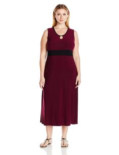 Star Vixen Women's Plus Size Sleeveless Keyhole Front Black Inset Waist Maxi Dress * This is an Amazon Affiliate link. You can get more details by clicking on the image.