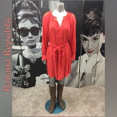 Banana Republic Dress Like New Coral Banana Republic Dress with V-Neck, Tie Waist & Gold Decorative Buttons at Wrist! Excellent Condition! Shell: 100% Viscose Filling: 100% Polyester Banana Republic Dresses Long Sleeve