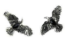 Black Stone Gothic Ravens Hair Clips Deathrock Jewelry