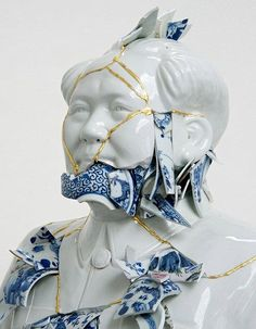 """An Exhibition at Fondation Bernardaud in France Explores Blue-and-White China in Contemporary Art Culture Repudiated, by Bouke De Vries is one of the artworks featured in """"My Blue China,"""" kintsugi Chinese Contemporary Art, Chinese Art, Contemporary Artists, Contemporary Sculpture, Modern Contemporary, Kintsugi, Blue And White China, Blue China, Ceramic Pottery"""