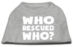 Mirage Pet Products Who Rescued Who Screen Print Shirt, Medium, Grey ** Click image to review more details. (This is an affiliate link and I receive a commission for the sales)