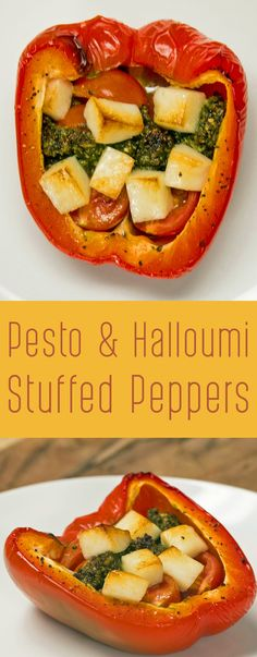 Pesto & Halloumi Stuffed Peppers