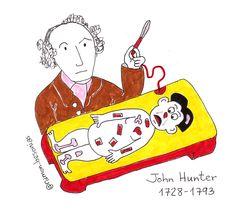 """Un 13 de febrero de 1728 nacía John Hunter, cirujano y anatomista al que se considera iniciador de la #medicina experimental. Realizó la primera inseminación artificial en la historia. Se cree que #Stevenson se basó en él para su obra """"El extraño caso del Dr. Jekyll y Mr. Hyde""""; al parecer los ladrones de cadáveres le entregaban cadáveres para su escuela de anatomía a través de la fachada trasera de su casa. #doodle #ilustración """