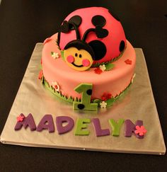 Ladybug Fondant Cake Topper with Matching Flowers, Age and Name Cake Decorations Perfect for a Ladybug Party