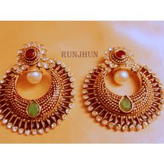stone and meena polki danglers - Online Shopping for Earrings by Runjhun Designer Jewellery