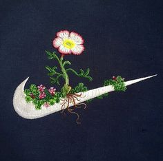 The Nike logo gets a bit of flower power