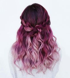 Hair Dye - ♡❁Pinterest ☞ Palettequeen❁♡ Beauty: Fantasy Unicorn Purple Violet Red Cherry Pink Bright Hair Colour Color Coloured Colored Fire Style curls haircut lilac lavender short long mermaid blue green teal orange hippy boho ombré woman lady pretty selfie style fade makeup grey white silver Pulp Riot