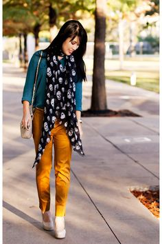 Discover this look wearing Mustard H&M Pants, Teal Silk Urban Outfitters Shirts tagged color, contrast, scarf - Skulls by KileenCheng styled for Chic, Lunch Date in the Fall Teal Outfits, Pretty Outfits, Cute Outfits, Pretty Clothes, Stylish Outfits, Mustard Pants, Mustard Yellow, Urban Outfitters, Teal Shirt
