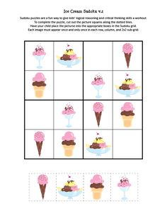 Ice Cream Sudoku Puzzles - Gift of Curiosity English Worksheets For Kids, Preschool Worksheets, Learning Activities, Activities For Kids, Sudoku Puzzles, Printable Puzzles, Puzzles For Kids, Learning Italian, Learning Spanish