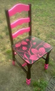 Upcycled Pink and Brown chair made with Mod Podge, Paint and an old Pillow Case