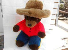 Vintage Brown Bear Plush with hat_Canadian by VTGTreasuresLane