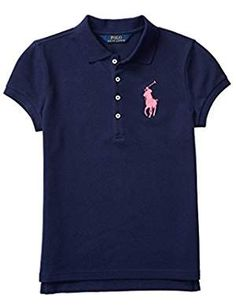 Ralph Lauren Embroidered Polo, Big Girls - French Navy S Polo Tees, Short Sleeve Polo Shirts, Latest Fashion Trends, Pony, Girl Fashion, Polo Ralph Lauren, Embroidery, Sleeves, Mens Tops
