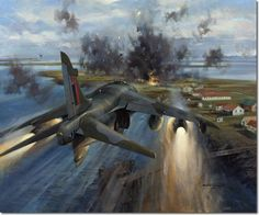"""""""Turner takes us there."""" KB Harrier Aircraft Attacking Goose Green, May 1982 - Michael Turner photo by Military Jets, Military Aircraft, Air Fighter, Fighter Jets, Military Drawings, Falklands War, Aircraft Painting, Airplane Art, Modern History"""