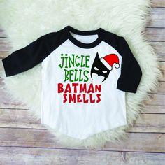 Jingle bells batman smells, kids chistmas shirt, funny kids shirt, funny christmas shirt, boys christmas raglan, boys christmas shirt by JADEandPAIIGE on Etsy https://www.etsy.com/listing/570997947/jingle-bells-batman-smells-kids-chistmas
