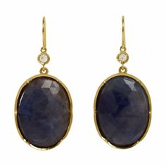 Irene Neuwirth Diamond & Blue Sapphire Oval Drop Earrings at Barneys.com