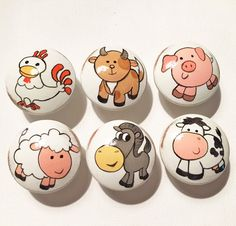 Vintage Farmland Drawer Pulls / Dresser Knobs / Closet Handles (Tractor, Cow, Pig, Sheep, Goat) for Kids Rooms and Nursery Rooms