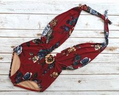 Swimsuit One Piece High Waisted Vintage Style Retro Pin-up Maillot - Burgundy Red Blue Cream Floral Print Plunge Bathing Suit Swimwear #swimwear#style#woman#beauty