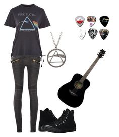"""""""Bands Party"""" by lucyheartyui on Polyvore featuring moda, Balmain, Topshop, Converse, Floyd, Yamaha, black, party, Dark i bands"""