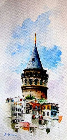 Galata Tower (Istanbul) painted by Berrin Duma Watercolor Landscape, Watercolor Illustration, Watercolour Painting, Watercolors, Istanbul, Watercolor Architecture, Turkish Art, Guache, Wow Art