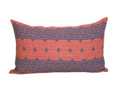 This listing is for one Fez Indigo/Raspberry lumbar pillow cover with linen backing.   DESCRIPTION Fabric made by: Peter Dunham Textiles Pillow made by: Spark Modern Colors: Raspberry red, indigo blue   DETAILS Pattern placement WILL VARY from the listing photo. The pillow cover shown in the listing photo is 12 x 20 with a 12 x 22 down blend insert. Inserts are available for purchase through the following link, which also includes sizing recommendations: https://www.etsy.com&#...