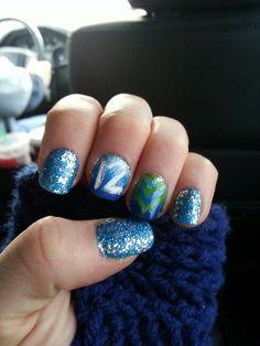 My nails for the 12-2-13 Seahawk game! GO HAWKS!!! Win