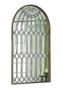 Anthropologie-Style-Caged-French-Rustic-XL-Floor-Wall-Leaner-Mirror-Arched-Iron