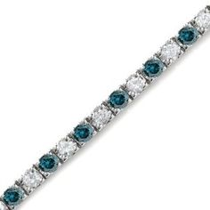 This is a beautiful 5 CT Blue & White Diamond Tennis Bracelet. The alternating Blue and white Diamonds signify everlasting love. - See more at: http://blackdiamondgemstone.com/jewelry/bracelets/5-ct-white-blue-diamond-bracelet-14k-white-gold-com/