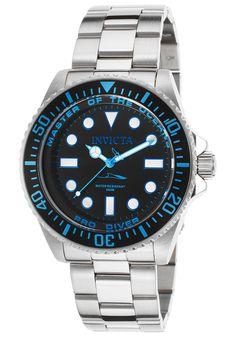 Invicta 20122 Watches,Men's Pro Diver Stainless Steel Black Dial Light Blue Accent, Diver Invicta Quartz Watches