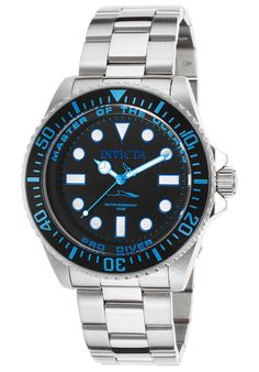 Invicta 20122 Watches,Men's Pro Diver Stainless Steel Black Dial Light Blue Accent, Diver Invicta Quartz Watches