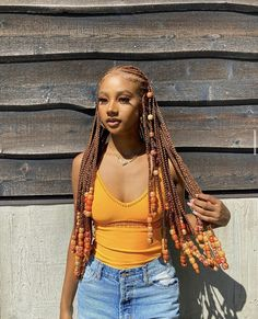 Check out our list of poppin' protective braided hairstyles for black women featuring the type of hair used, price & duration. Cool Braid Hairstyles, Braided Hairstyles For Black Women, Braids For Black Women, Pretty Hairstyles, Colored Braids, Colored Hair, Braids With Beads, Box Braids, Curly Hair Styles