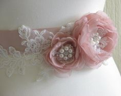 Bridal sash Purple blush ivory sash Ivory by WhiteBridalBoutique