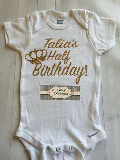 Baby Girl Gold Glitter Birthday Onesie, Personalized Half Birthday Onesie ONLY