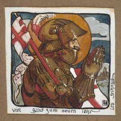 Chevalier en prière. Gouache sur papier. SbD. Musée d'Art moderne et contemporain de la Ville de Strasbourg.