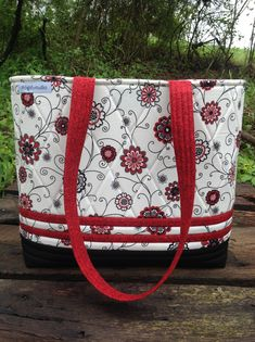 Black White and Red Quilted Tote Bag Floral Business Bag