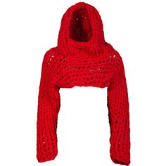 Red Chunky Knit Sleeves ❤ liked on Polyvore featuring tops, sweaters, red knit sweater, chunky cropped sweater, hand knit sweater, sleeve top and long-sleeve crop tops