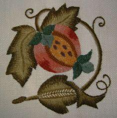 #pomegranate crewel work  #@Anna Totten Totten Halliwell Boyd Fontaine 2/5/13