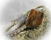 Rare Minnesota Binghamite Wire Wrapped Stone Bangle Cuff Bracelet