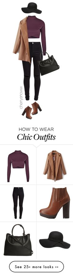 """""""Casual chic fall outfit"""" by cherrysnoww on Polyvore featuring Topshop, New Look, Dorothy Perkins, Prada, Charlotte Russe, casual, chic, CasualChic and ClassyChic"""