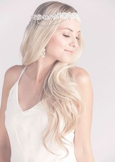 Boho beauty  Adore this bridal headpiece by Laura Jayne Bride!  (Style: Sevense Matte Crystal Bridal Hair Ribbon)