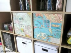 My Recycled Map Drawer Makeover for my craft room, an easy upcycle tutorial using maps. This is a simple way to decoupage a flat surface for an easy update.
