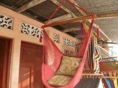 Red Sitting Hammock, Hanging Chair Natural Cotton and Wood. $39.00, via Etsy.