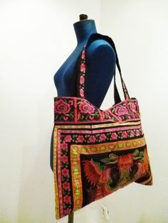 bags hmong thai asia india hand made embroidery ethnic tribe vintage classic design multi colored flower hippie boho shabby chic
