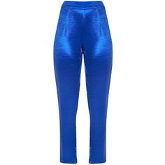 Camilla Blue Hammered Satin Trouser | Shop Trousers |... ❤ liked on Polyvore featuring pants, satin trousers, satin pants, blue pants, blue trousers and blue satin pants